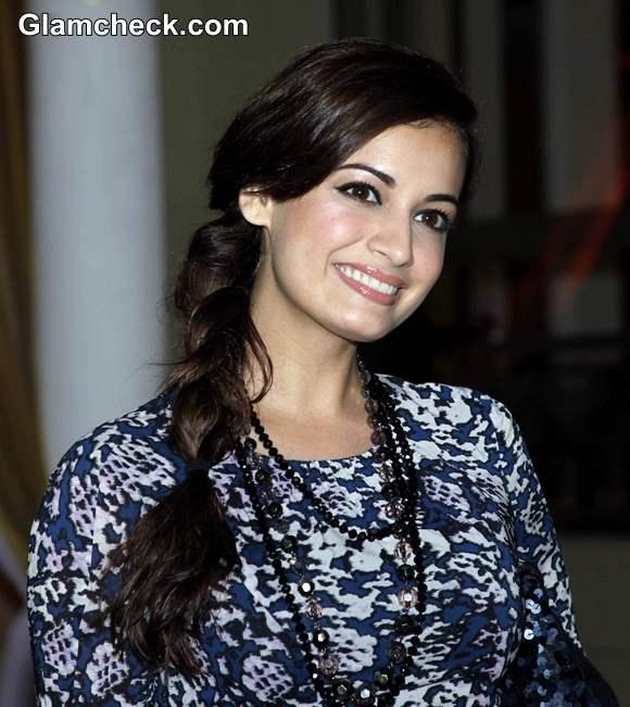 Dia Mirza Side Braid and Natural Makeup Look