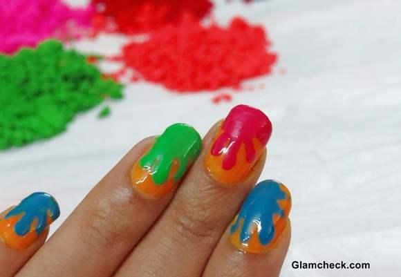 Holi Nail Art DIY - Splash of Colors