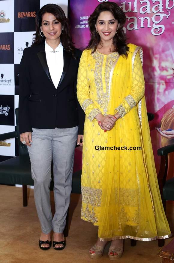 Juhi and Madhuri on Another Gulaab Gang Promo Tour in Delhi