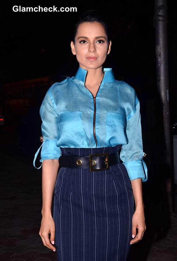 Kangana Ranaut in Blue Outfit at Queen Promo Event