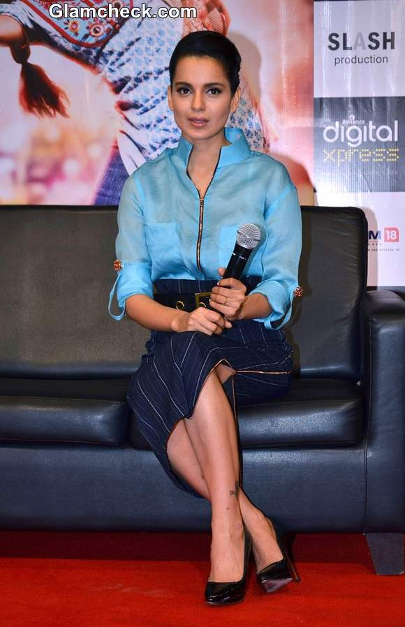 Kangana Ranaut in Blue at Queen Promotions