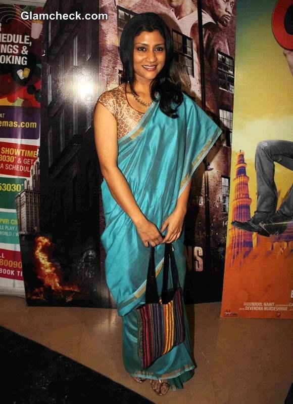 Konkona Sen 2014 in Sari at Ankhon Dekhi Special Screening