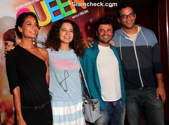 Lisa Haydon Rajkumar Rao and Kangana Ranaut at Queen Screening
