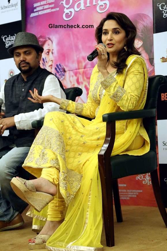 Madhuri Dixit in Yellow Anarkali at Gulaab Gang Promotions