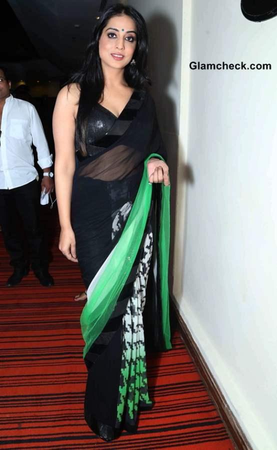 Mahi Gill 2014 in Sari at Gang of Ghosts Main Promotions