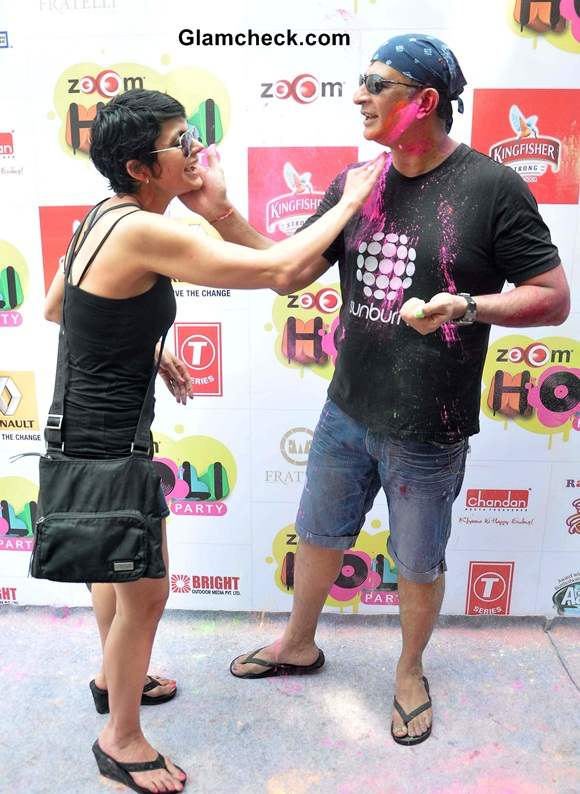 Mandira Bedi celebrates Holi with her husband Raj Kaushal
