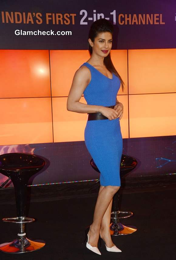Priyanka Chopra Launches NDTV 2-in1 Channel in Blue Dress