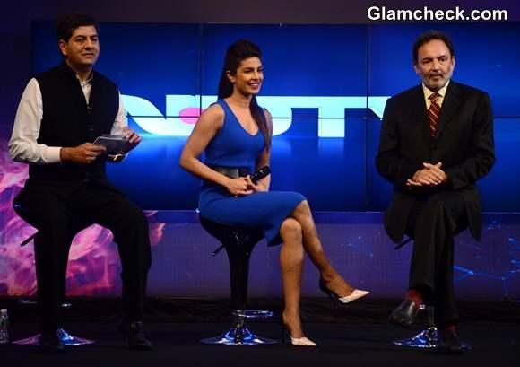 Priyanka Chopra Launches NDTV 2-in1 Channel in Blue Jersey Dress
