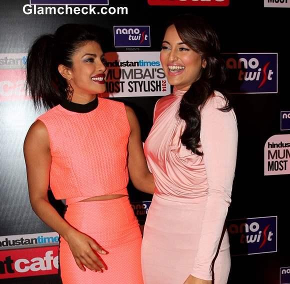 Priyanka Chopra and Sonakshi Sinha 2014 HT Most Stylish Awards