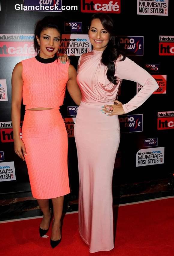 Priyanka Chopra and Sonakshi Sinha at HT Most Stylish Awards 2014