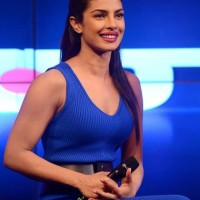 Priyanka Chopra in Blue Jersey Dress 2014