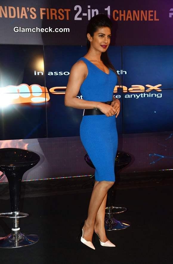 Priyanka Chopra in Blue Jersey Dress