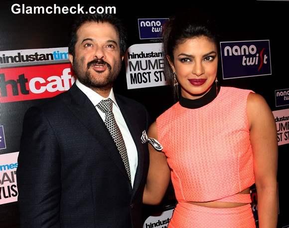 Priyanka Chopra with Anil Kapoor at 2014 HT Most Stylish Awards