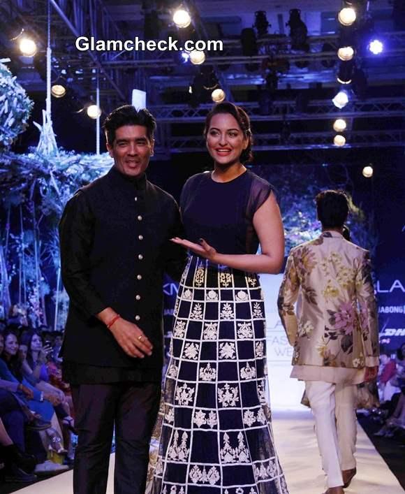 Sonakshi Sinha for Manish Malhotra at 2014 LFW Summer-Resort