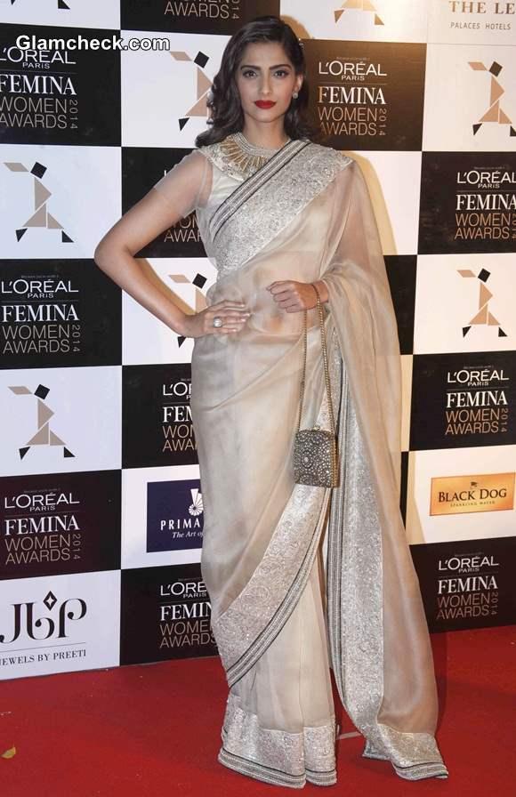 Sonam Kapoor in Anamika Khanna Sari at LOreal Paris Femina Women Awards 2014