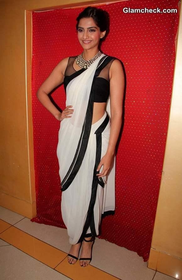Sonam Kapoor in Tarun Tahiliani Dhoti Sari at Kuchh Dil Ne Kaha Album Launch