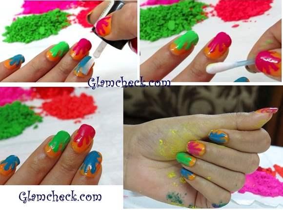 Splashes and Splatters Holi Nail Art DIY