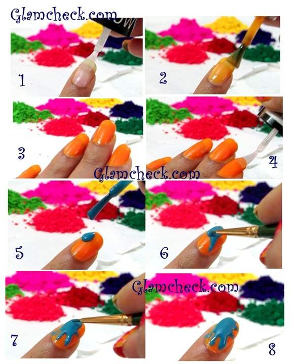 Color Splatter Nails Splatter Nail Art For Holi
