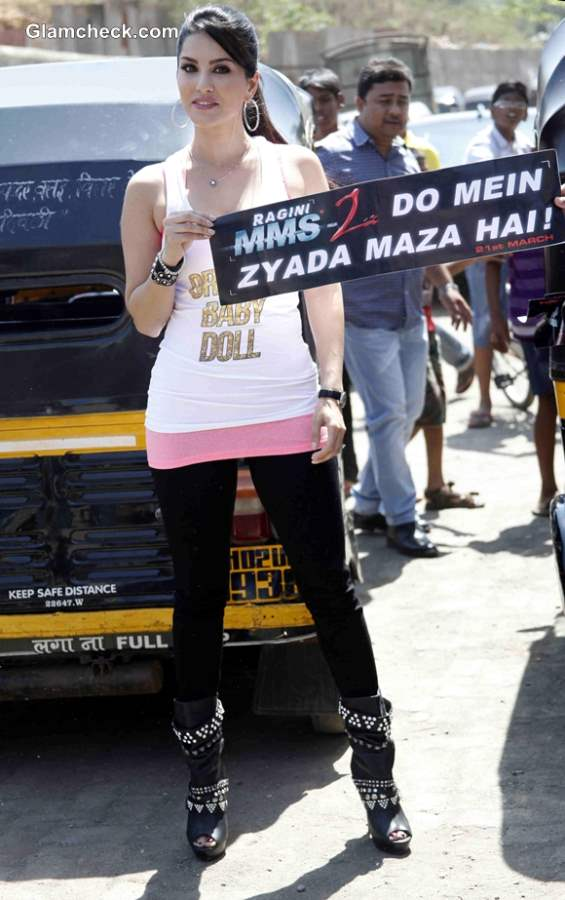 Sunny Leone Promotes Ragini MMS 2  Autorickshaw Campaign