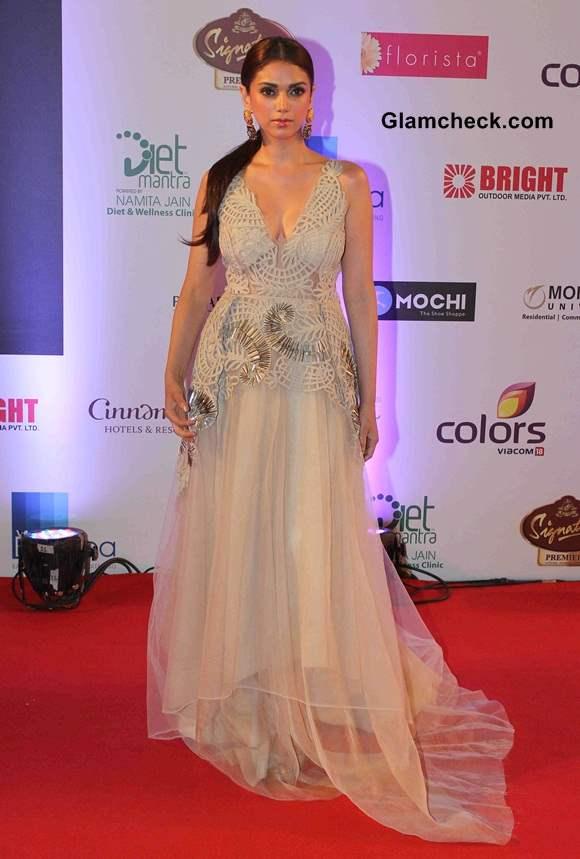 Aditi Rao Hydari in Jade Princess Gown at Femina Miss India 2014