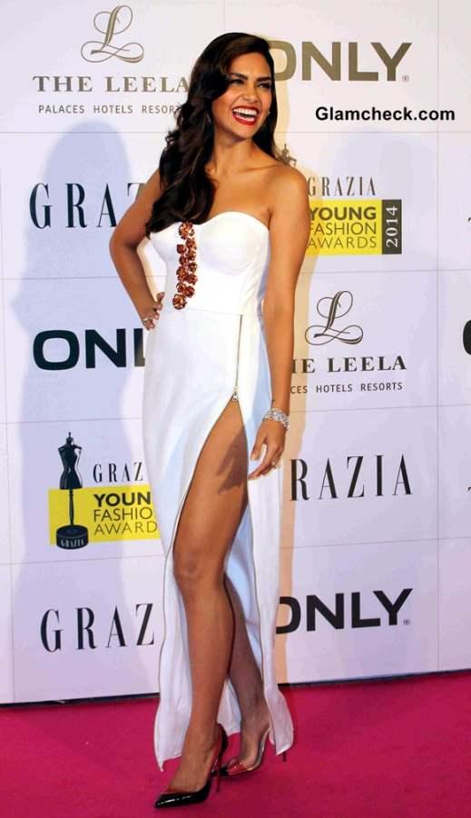Esha Gupta Displays Her Pins in Nikhil Thampi White Gown