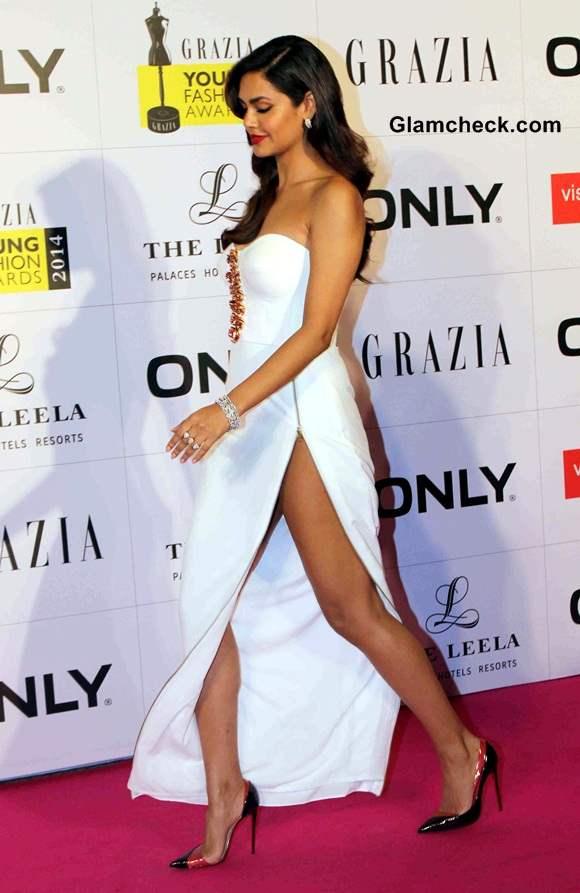Esha Gupta Shows her Legs in Nikhil Thampi White Gown