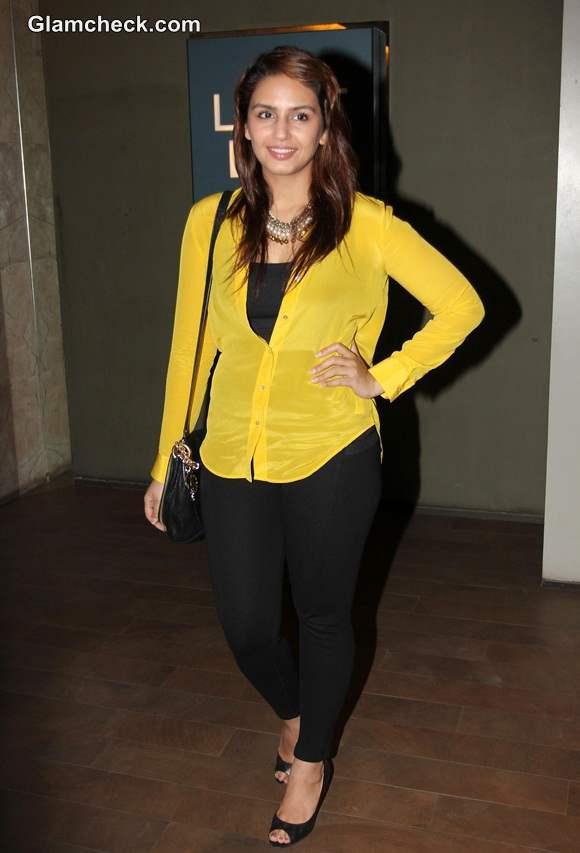 Huma Qureshi Sports Colourful Yellow Shirt at Hawaa Hawaai Special Screening