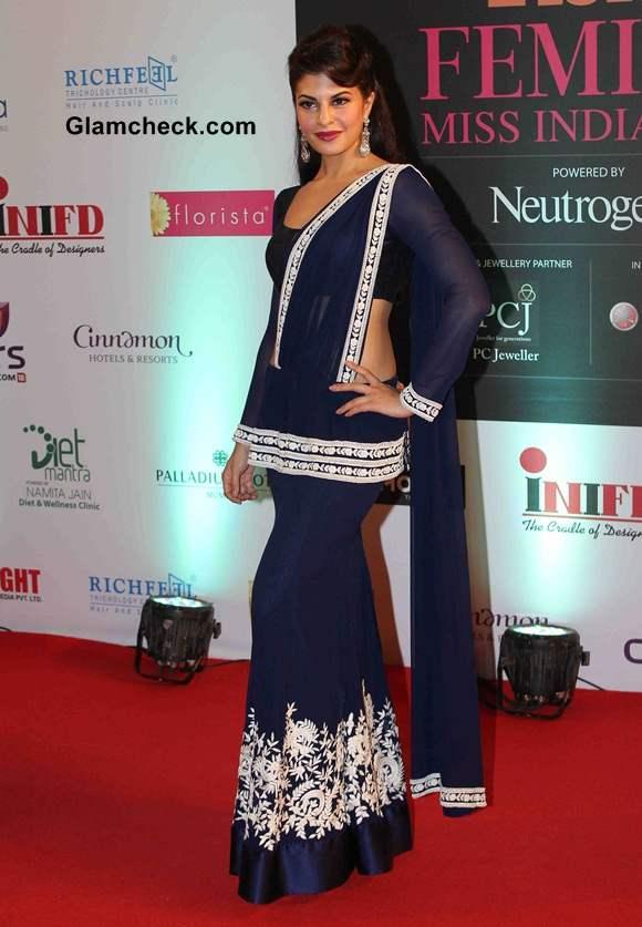 Jacqueline Fernandes in Manish Malhotra Fusion Sari 2014
