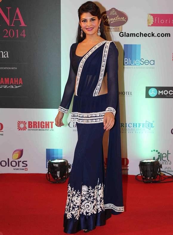 Jacqueline Fernandes in Manish Malhotra Fusion Sari at Miss India 2014