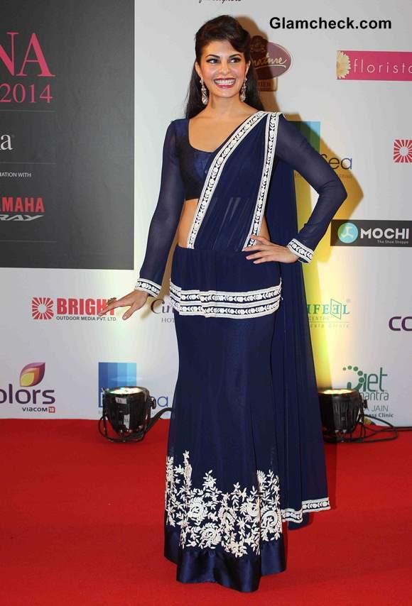 Jacqueline Fernandes in Manish Malhotra Fusion Sari
