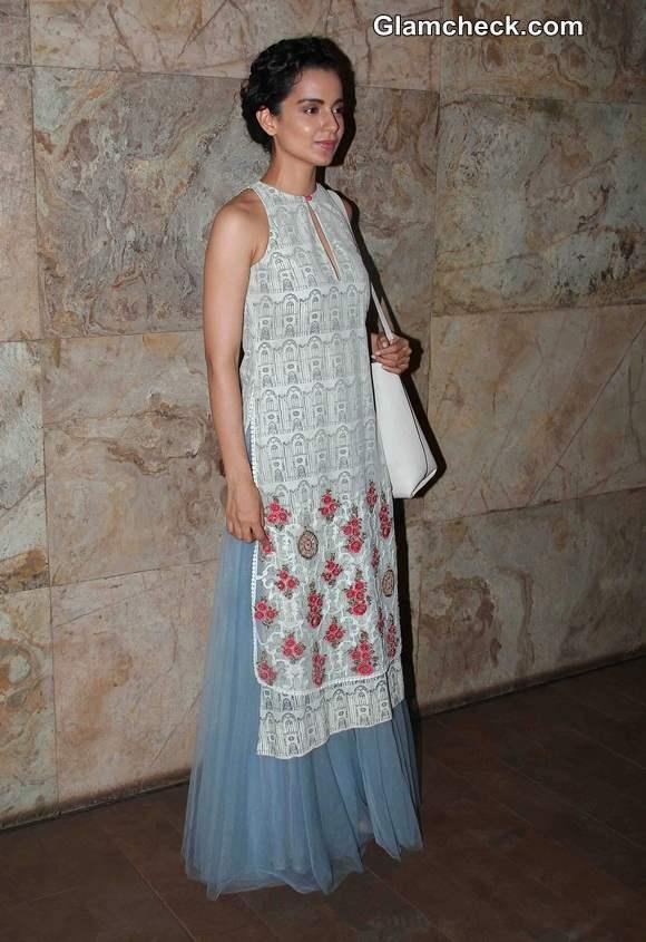 Kangana Ranaut in Anju Modi Outfit at Revolver Rani Special Screening