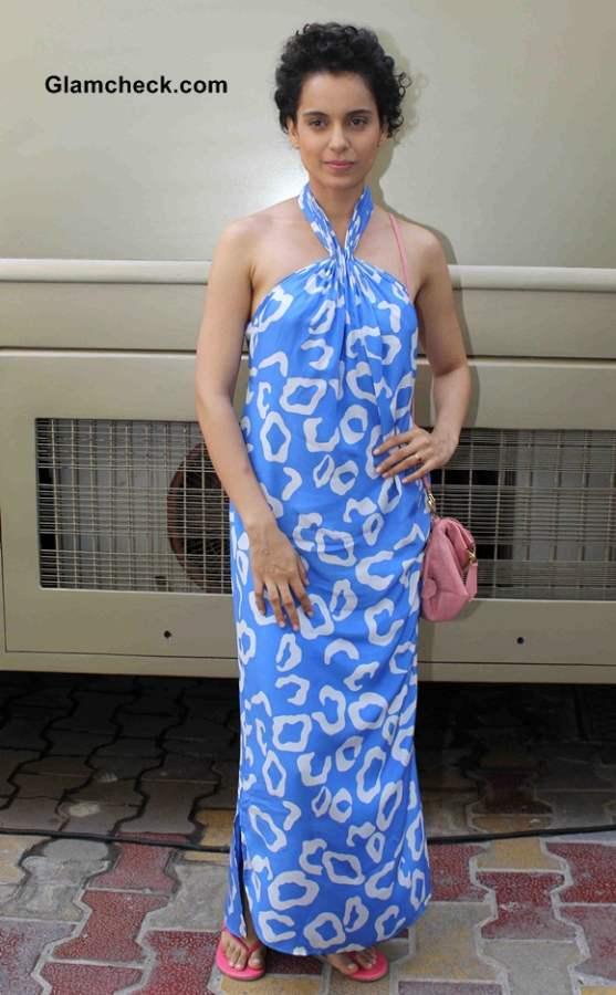 Kangana Ranaut in Blue Maxi Dress 2014 Promotes Revolver Rani