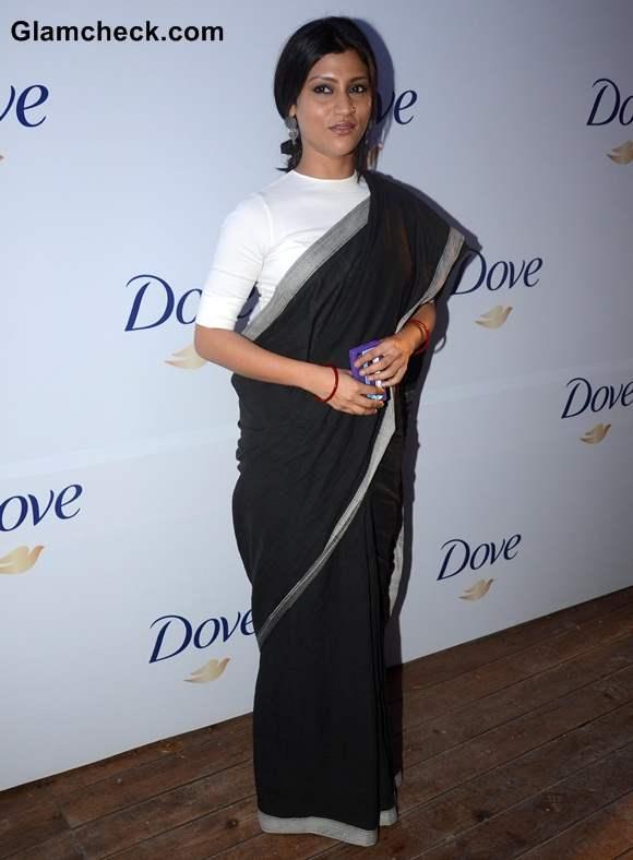 Konkona Sen Sharma Goes Monochrome in Black Sari With White blouse