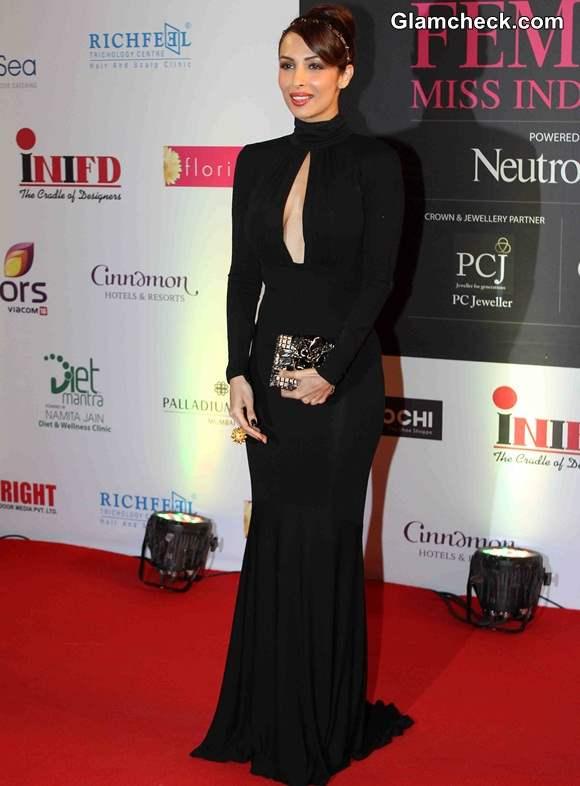Malaika Arora Khan in Michael Kors Black Gown at Femina Miss India 2014