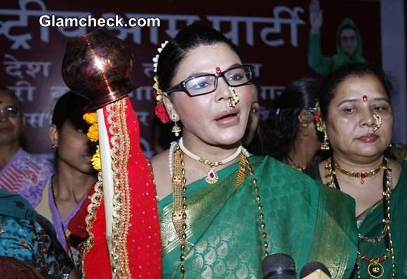 Rakhi Sawant Sports Kashta Sari to Woo Voters on Gudi Padwa