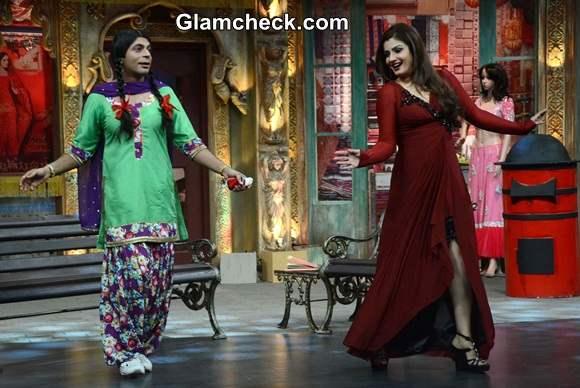 Raveena Tandon Maroon Gown on Mad in India