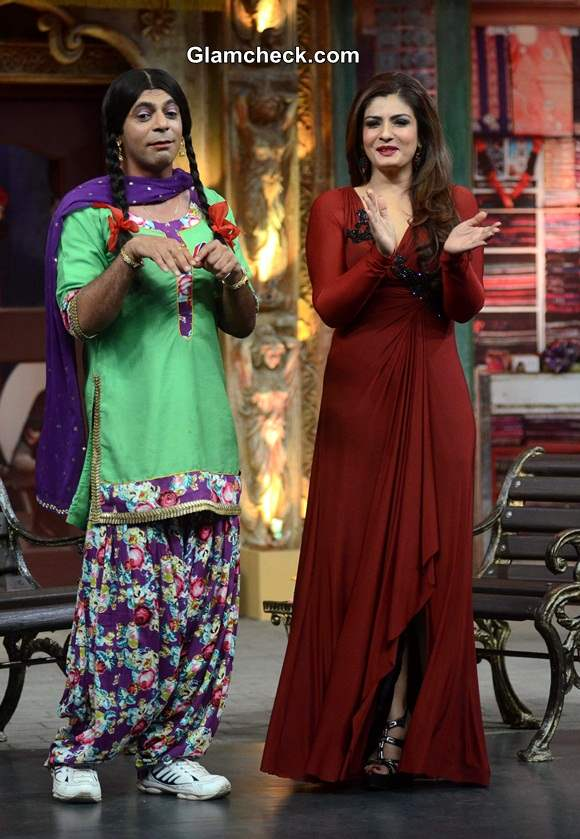 Raveena Tandon Sports Maroon Gown on Mad in India