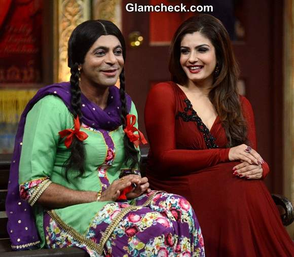 Raveena Tandon in Maroon Gown on Mad in India