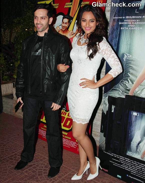 Sonakshi Sinha in white lace dress 2014