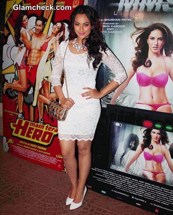 Sonakshi Sinha in white lace dress