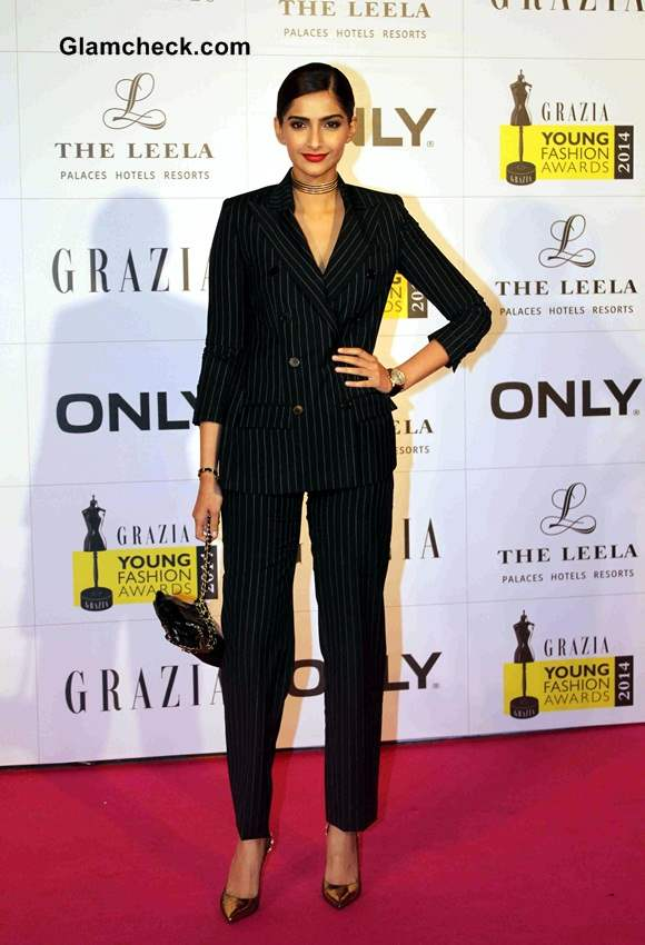 Sonam Kapoor in Jean Paul Gaultier Tuxedo at Grazia Young Fashion Awards 2014