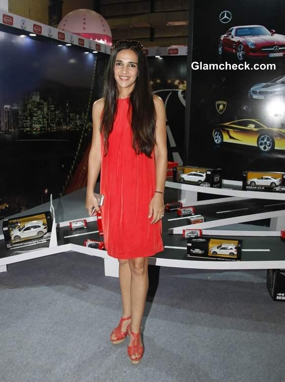 Tara Sharma in red dress