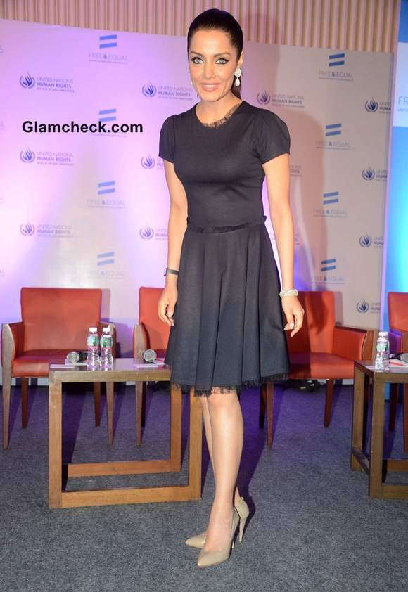 Celina Jaitley in Black Dress at UN LGBT-support Music Video Launch