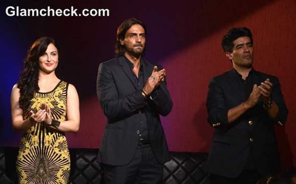 Elli Avram Arjun Rampal and fashion designer Manish Malhotra