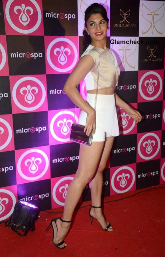 Jacqueline Fernandez in Yet Another Cropped Top at Microspa Launch