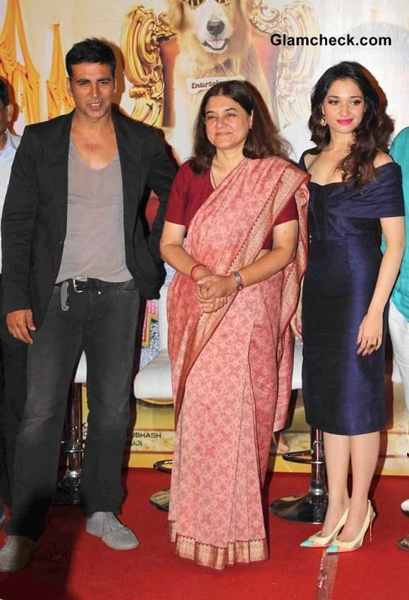 Maneka Gandhi Joins Akshay and Tamannah to Launch Its Entertainment Trailer