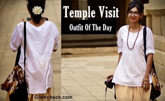 Outfit of the Day - Temple visit in sage inspired neutral colors