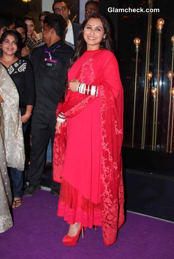 Rani Mukherjee in red Sabyasaachi anarkali 2014
