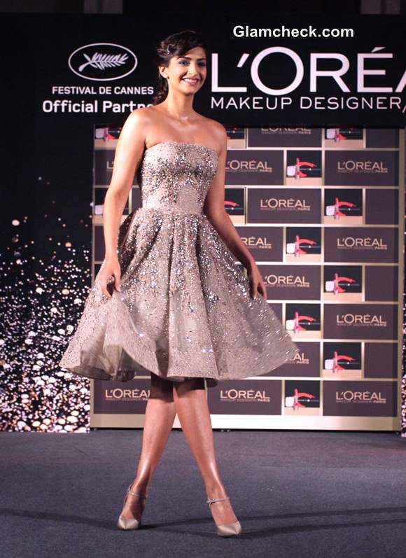 Sonam Kapoor Launches LOreals New Makeup Collection in Elie Saab Couture