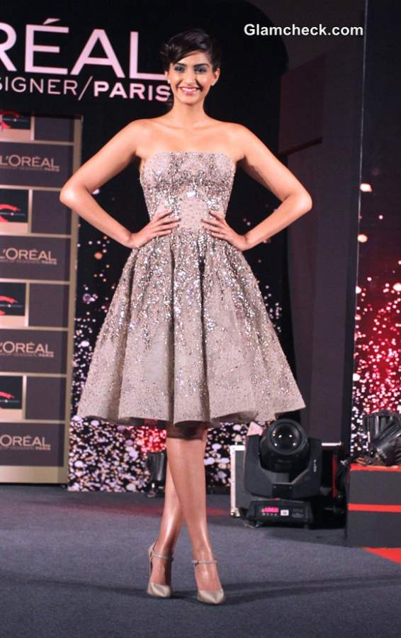 Sonam Kapoor Launches LOreals New Makeup Collection in Elie Saab dress